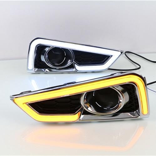 For Honda City Grace 2015 2016,Turn Yellow Signal Style Relay Waterproof ABS Car DRL 12V LED Daytime Running Light Maizheng