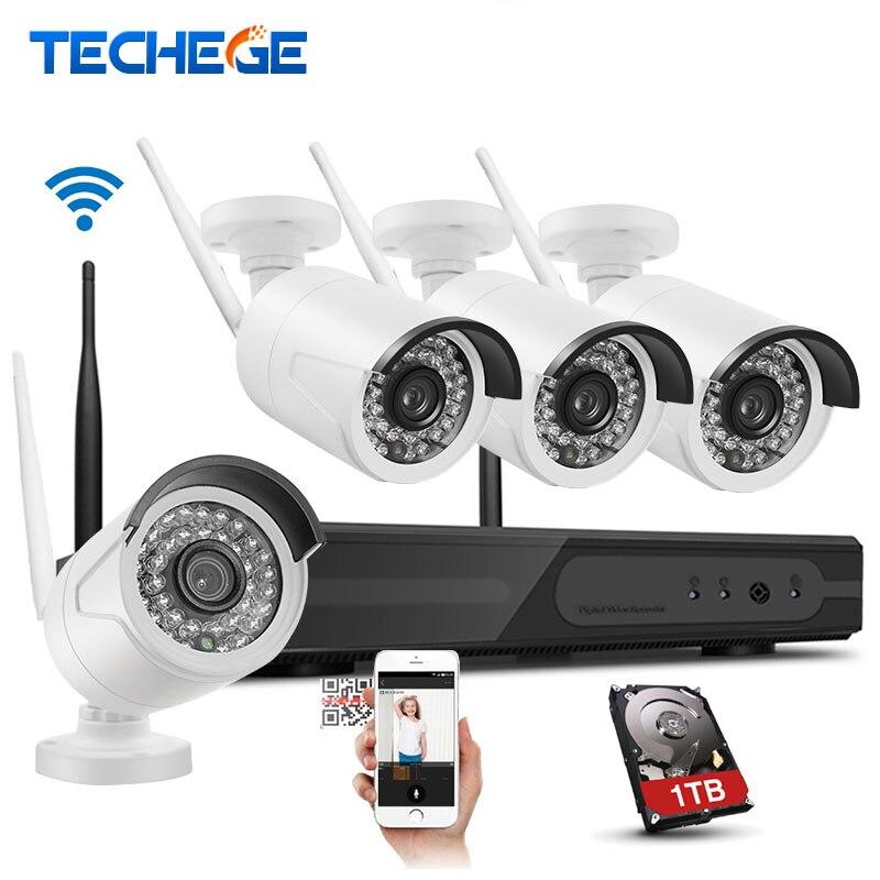 bilder für Techege 4CH 1080 P Drahtlose 1 TB HDD NVR CCTV System 1.0MP WIFI Ip-kamera Wasserdichte wifi Kamera 4CH NVR System Kamera System