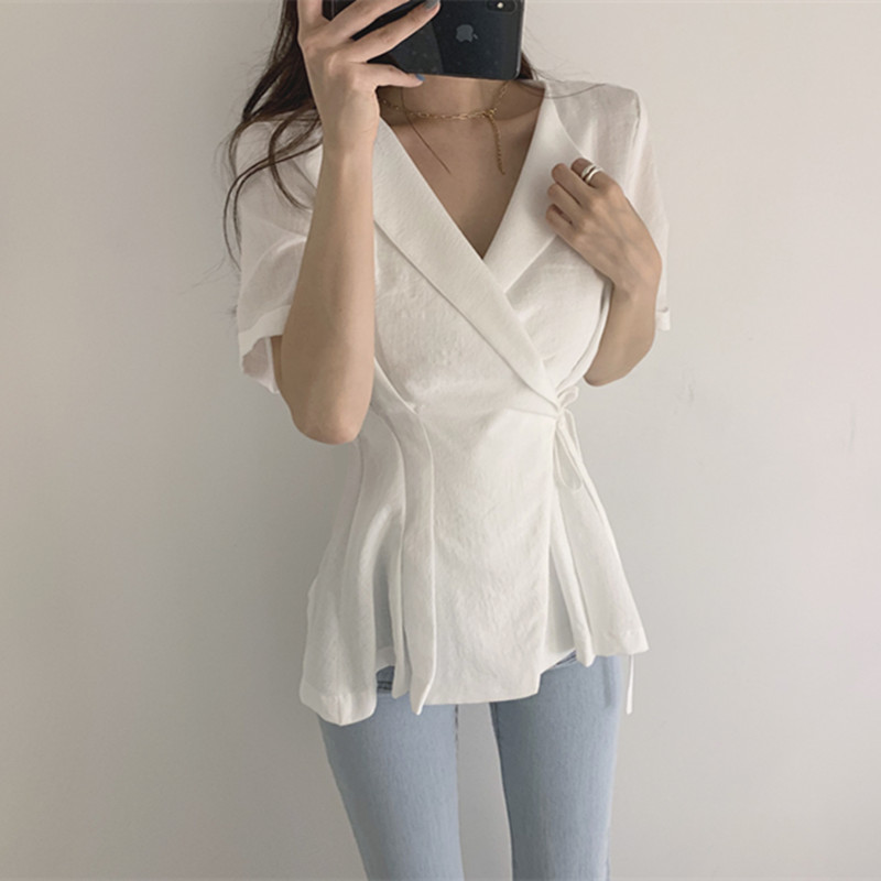 Hzirip OL Lapel White Shirt Woman 2019 New Summer Work Wear Short Sleeve Solid Office Lady Women Blouses and Tops Blusas Mujer