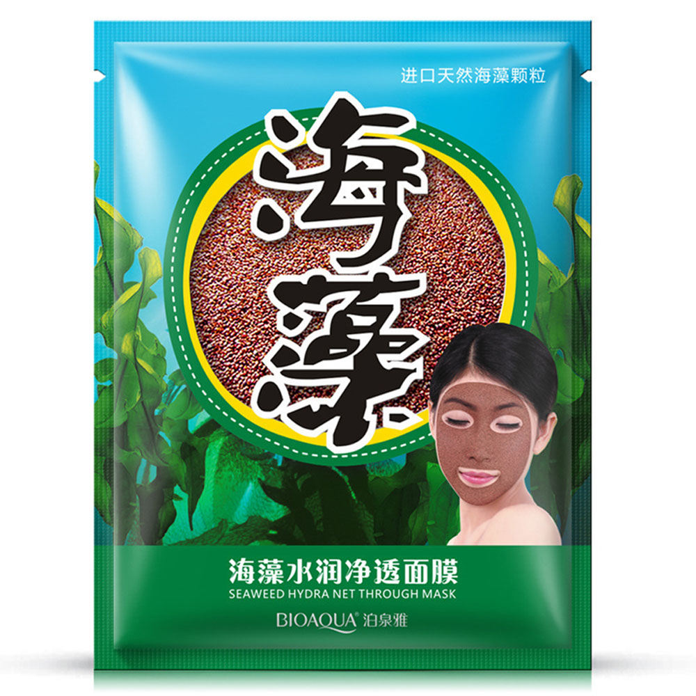 Bioaqua Natural Seaweed Particles Face Mask Moisturizing Hydrating Contractive Pore Algae Seed Masks Facial Skin Care
