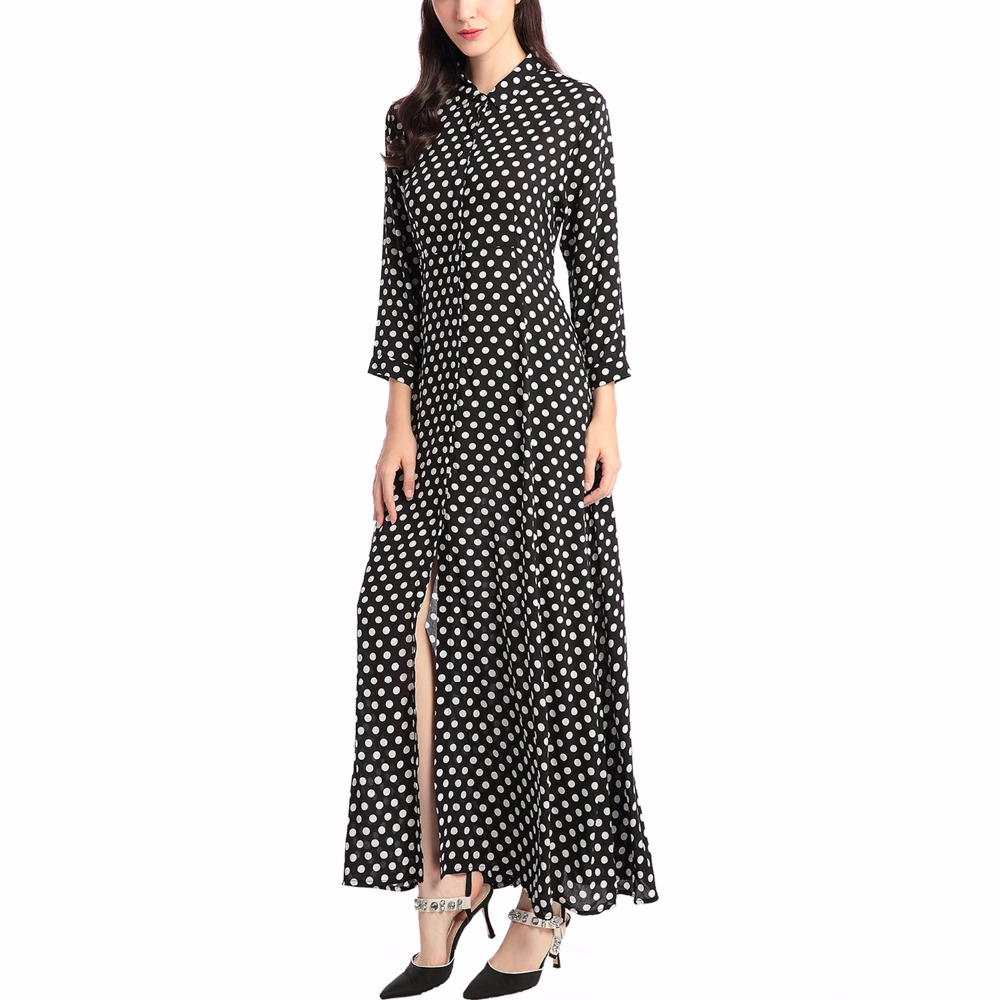 Boho Style Long Dress Women Long Sleeve Shirt Dresses Dot Print Vintage Black Maxi Dress Vestidos