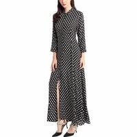 Stile Boho vestito lungo delle donne camicia a maniche lunghe abiti dot stampa Vintage black maxi dress abiti da festa abito musulmano caftano 01
