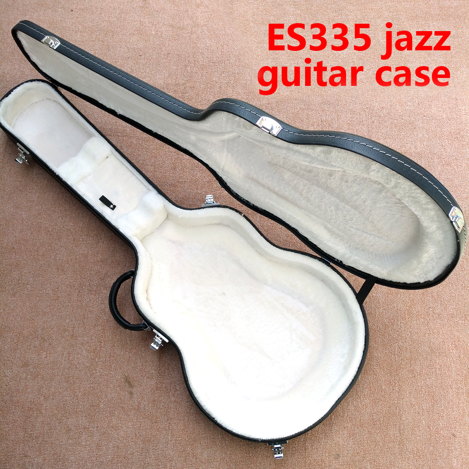 New style, high quality Hollow body ES 335 Jazz electric guitar case, black leather hard case with white lining, free shipping free shipping top quality new style f hole half hollow body p90 pick up gold top jazz electric guitar in stock