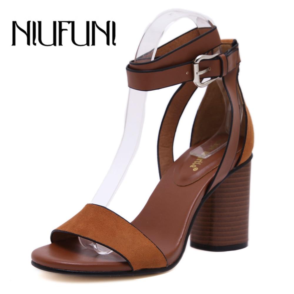 NIUFUNI Summer Thick Heeled Women Sandals Pumps Flock Buckel Strap Thick High Heels Woman Shoes Sandalias De Salto Alto
