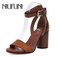Niufuni verão de salto grosso sandálias femininas bombas rebanho cinta buckel grosso salto alto sapatos mulher sandalias salto alto