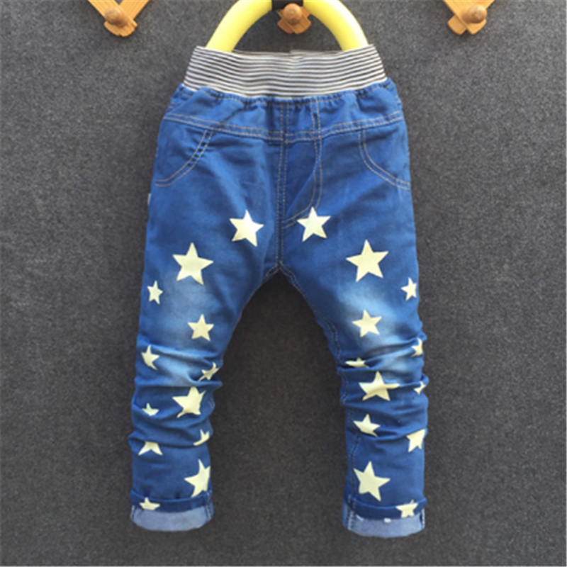Free shipping 2016 new style cartoon fashion character children kid baby boy girl jeans pants