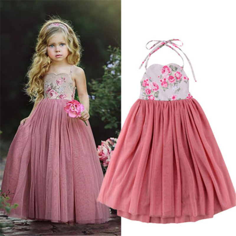 Baby Dressing Gown: Princess Lolita Kids Baby Floral Long Dresses Clothing