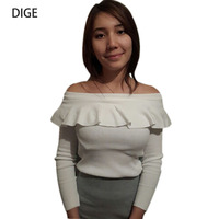 2016 Sexy Women Off Shoulder Shirt Kinted Sweater Long Sleeve Slim Fit Short Ruffles Pullover Knitwear