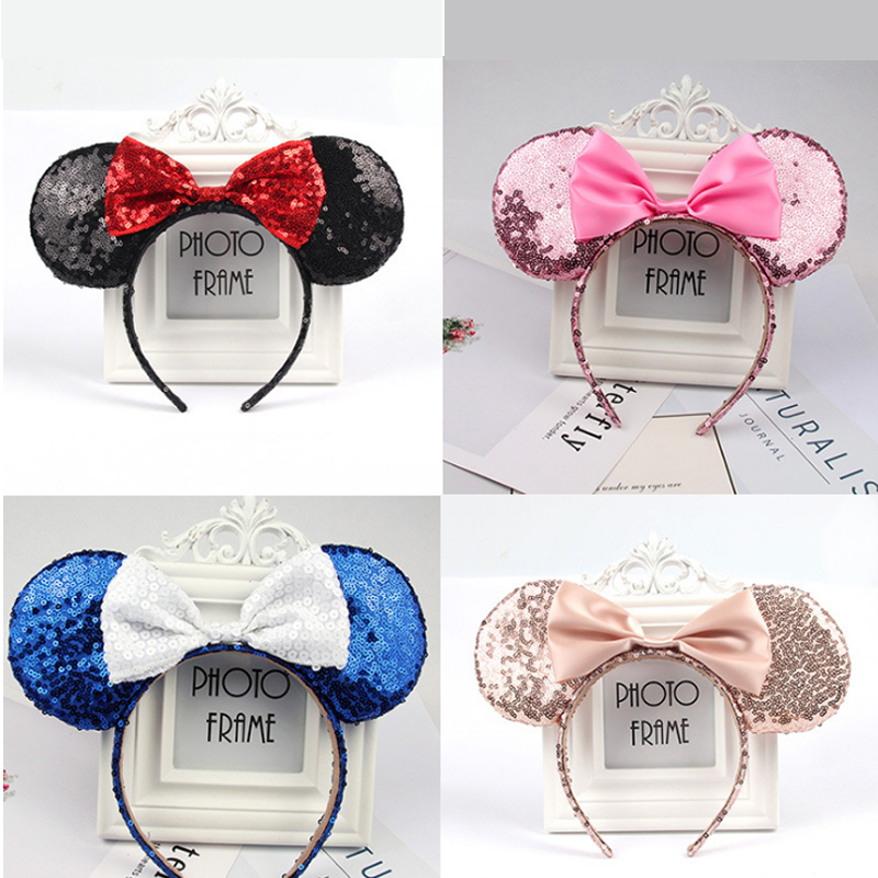 Disney Minnie Mouse Headdress Pretend Play Game Mickey Head Ears Sequin Girls Hair Bands Princess Head Hoop Plush Toys Kid Gift