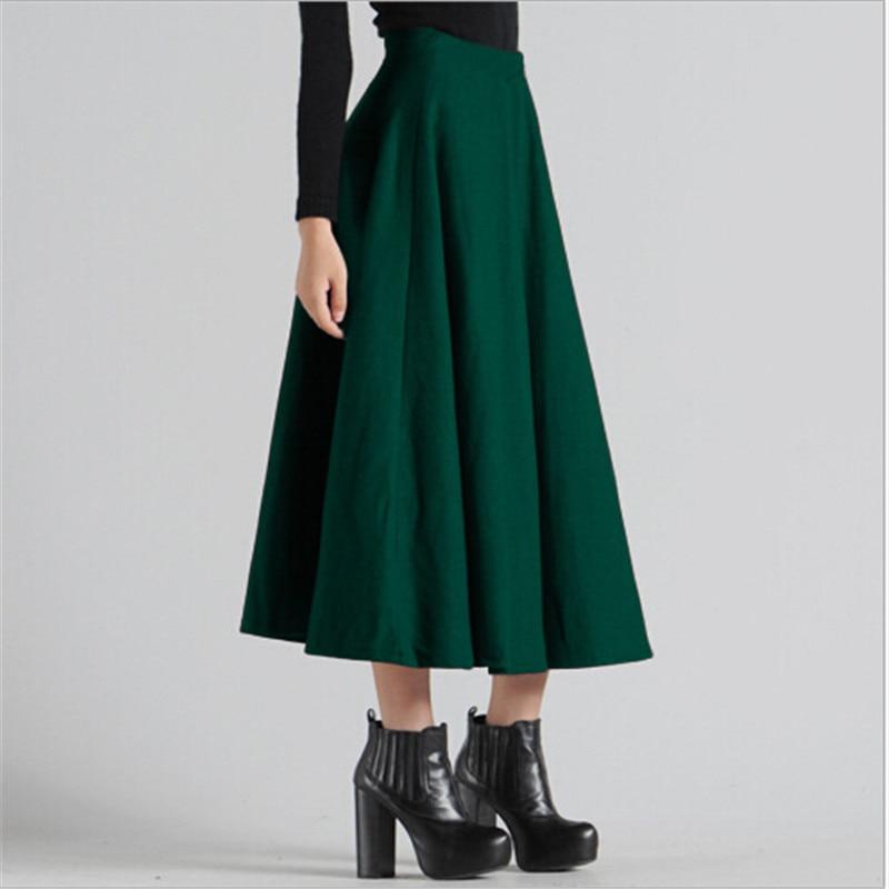Femenina Loose Falda green Mujeres Nuevo Invierno Alta C1218 Larga Cintura Gray Moda Sólido Slim Lana red Maxi Color Faldas black Femenino PBzxxAqw