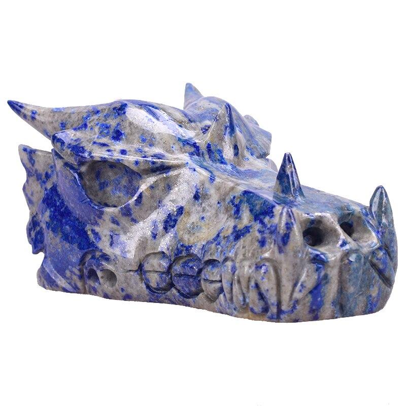 Figurine de crâne de tête de Dragon Lapis Lazuli naturelle 5.6 ''Statue de crâne de cristal réaliste comme cadeau de noël ou Collection de décoration intérieure