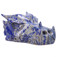 5.6'' Natural Lapis Lazuli Dragon Head Skull Figurine Realistic Crystal Skull Statue as Christmas Gift or Home Decor Collection