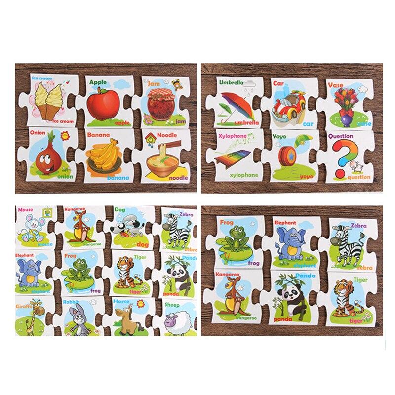 Candywood 2018 nouveaux enfants lettres anglaises Alphabet Puzzle jeu cartes éducatifs apprentissage jouets lettre correspondant jeu avec boîte - 6