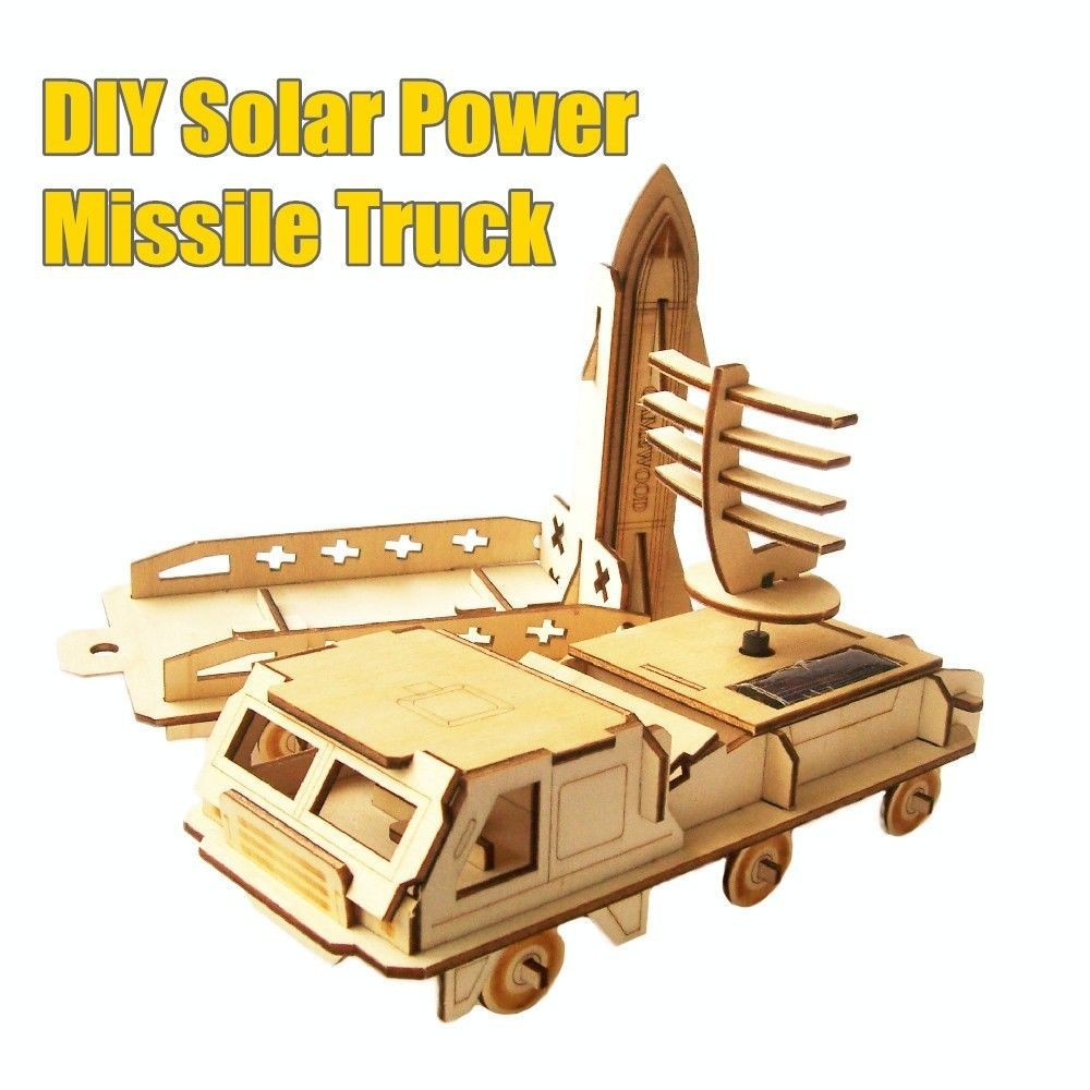 Bulk model rockets wholesale - Ems Free Shipping Wholesale 42 Pieces Diy Solar Power Missile Truck Wooden Rocket Launcher With Space