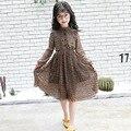 Vestidos elegantes Para As Meninas 5 6 7 8 9 11 12 13 14 15 T de Manga Longa Primavera Chiffon Floral Crianças Vestidos Adolescentes Do Bebê Menina Vestido de Verão