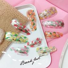 AHB Hair Accessories Korean BB Clips for Girls Cute Summer Fruit Print Transparent PVC Hairpins Barrettes Kids Headwear