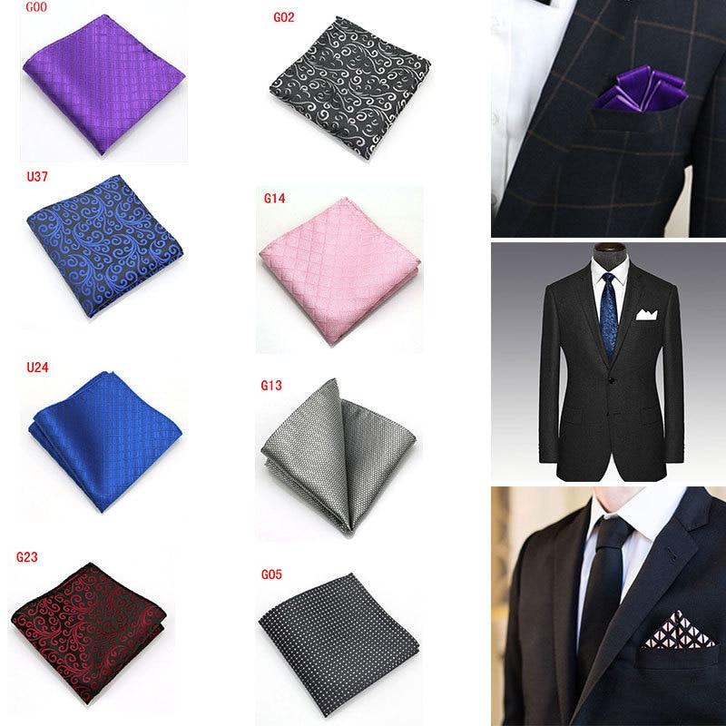 25 * 25 CM Men's Pocket Square 10 Color Wedding Business Men's Suit Shirt Pocket Towel Solid Color Party Polyester Handkerchief