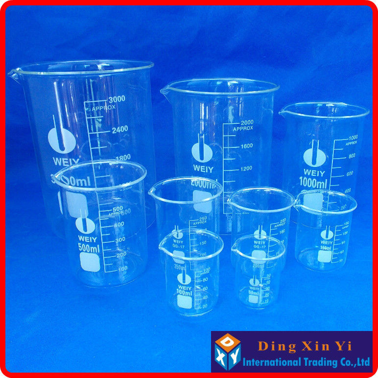 Glass Beaker 5 Pcs Set 50, 100, 150, 200, 250ml Low Form Brand New High Quality
