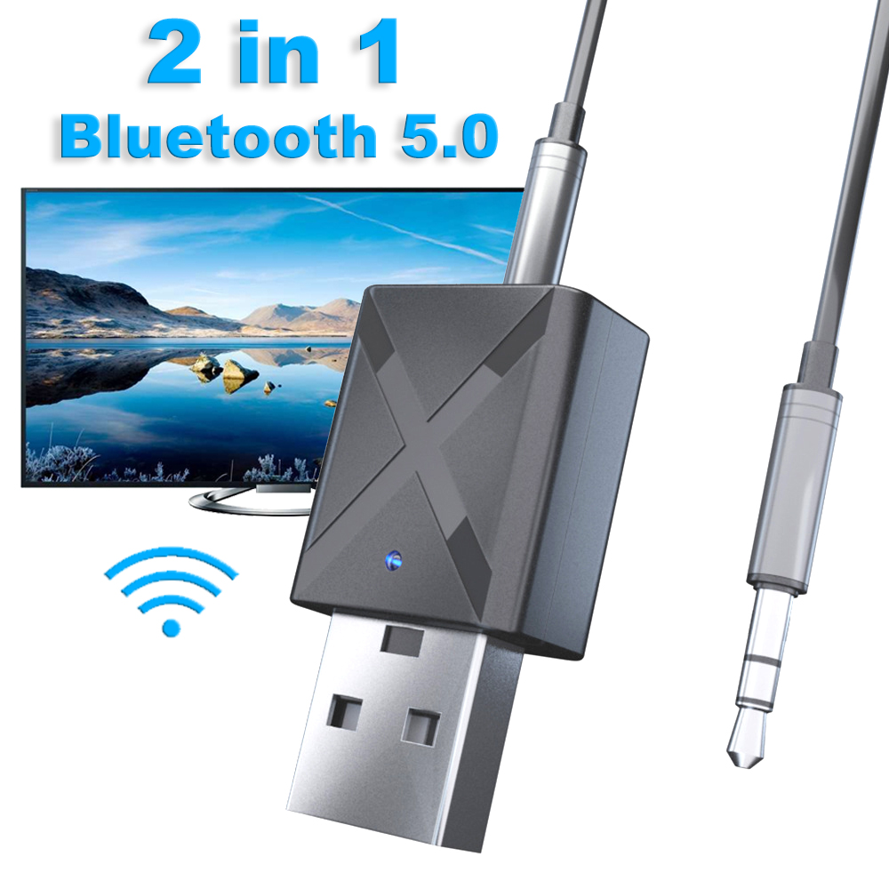 Wireless Bluetooth 5.0 Audio Receiver Transmitter Mini USB 3.5 Mm 2-in-1 Bluetooth Adapter For TV Computer Car AUX Latest Model