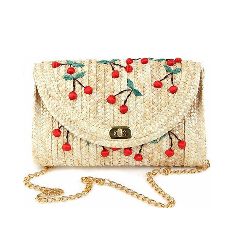 2018 Brand Hand Made WomenS Bag Woven Natural Straw Messenger Bag Environmental Female Shoulder Bag(Cherry Pattern) -Yellow Hot