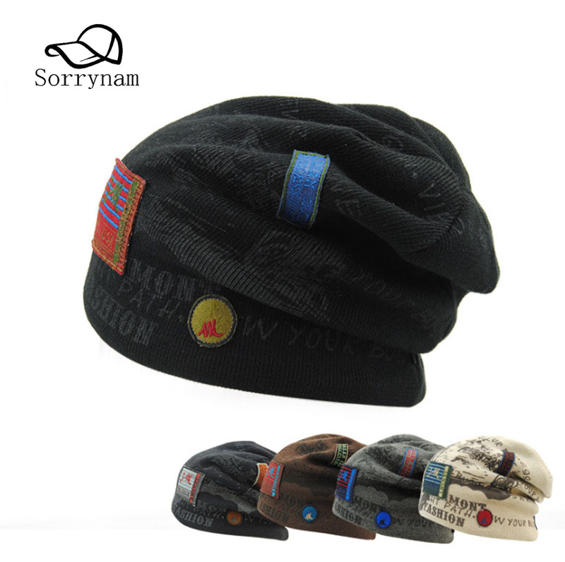 New Brand Beanies Skullies Winter Hat Knitted Patchwork Caps Winter Hats For Men Women Fitted Cap Letter Warm Hat Casual bingyuanhaoxuan2017 warm patchwork hats casual female autumn winter hats handmade coarse knitted hat for women beanies candy cap