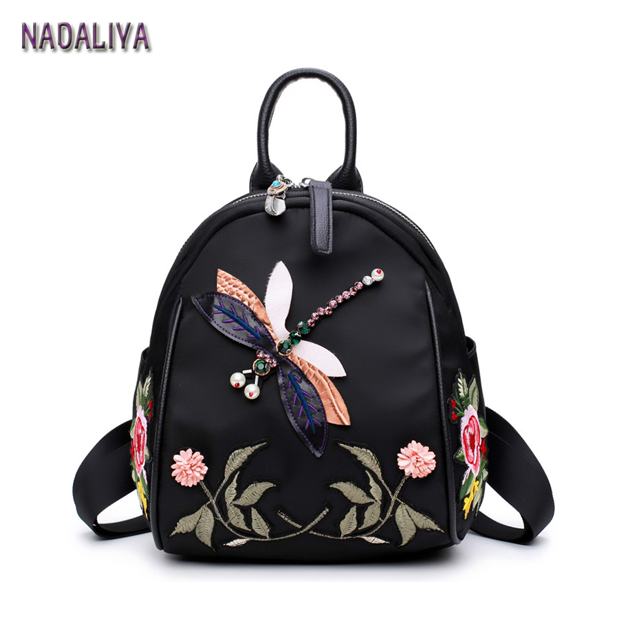 NADALIYA 2017 New Handmade Embroidery Dragonfly Lady Backpack Fashion Designer 3D Diamond Shoulder Bag Retro Female Bag new fashion diamond embroidery genuine