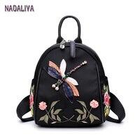 NADALIYA 2017 New Handmade Embroidery Dragonfly Lady Backpack Fashion Designer 3D Diamond Shoulder Bag Retro Female