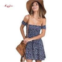 New 2017 Fashion Short Sleeve Floral Women Dress Sexy Off Shoulder Slash Neck Mini Party Dresses