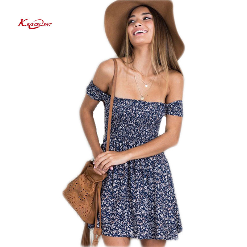 Summer Dress New 2017 Fashion Short Sleeve Floral Dress Sexy Off Shoulder Beach Mini Women Dress Plus Size Casual Party Vestidos