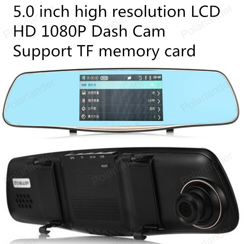 Car DVR Mirror Registrator G-Sensor Digital-Video Dual-Lens 5inch Motion-Detection-Function