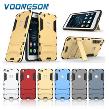 VOONGSON Impact Cover For Huawei p10 lite caus Iron Man Armor Phone Case Double Hard Stand Holder Rubber Robot Nova