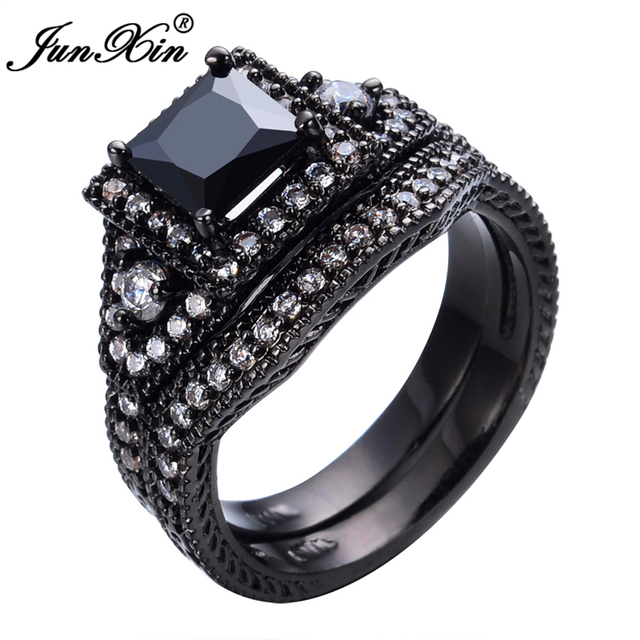 JUNXIN Black &White Zircon Stone Rings Set For Couples Vintage Jewelry Black Gold Filled Wedding Party Women Men Promise Ring