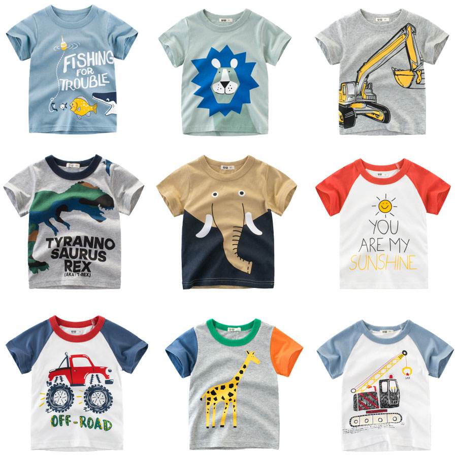 Cartoon Print Baby Boys Dinosaur T Shirt for Summer Infant Kids Boys Girls
