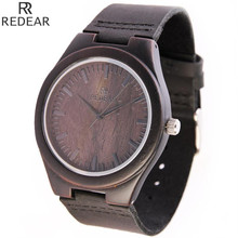 Top nuevos Hombres Negro de Cuero Genuino Reloj de Pulsera De Madera Natural de Buena Calidad Relojes de pulsera de Cuarzo Reloj De Madera Top Artículo de Regalo