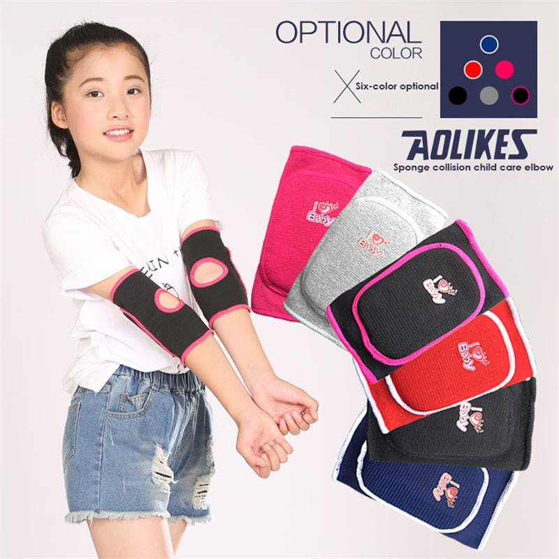 1 Pair Sports Protect Kits Warm Colors Children Sponge Elbow Brace Kids Adjustable Padde ...