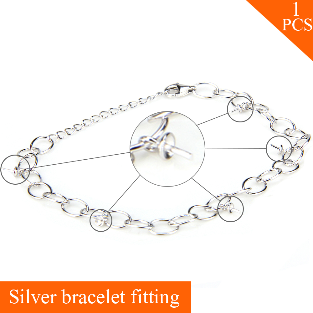 925 sterling silver bracelet accessory for women DIY charms bracelet jewelry can stick 5pcs pearls on