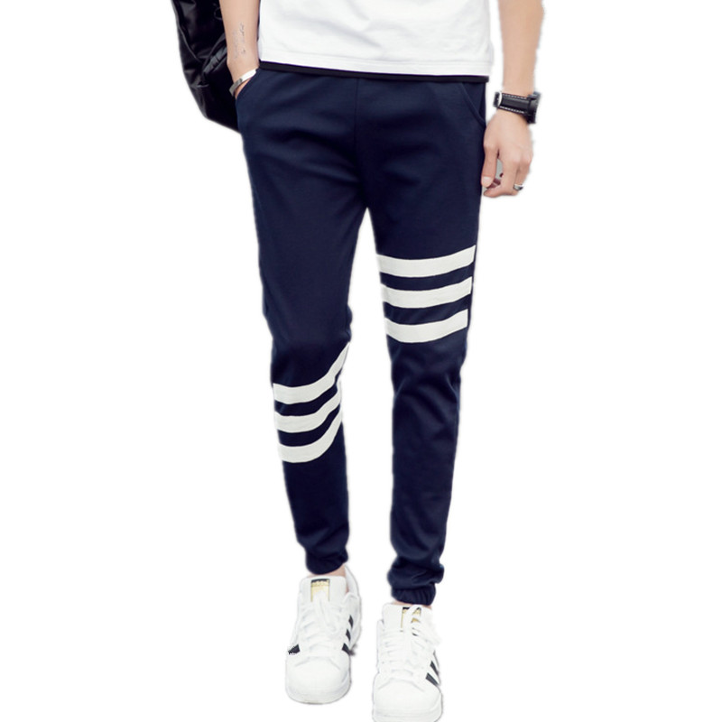 2018 Summer Men Jogger Pants Comfortable Cotton Patchwork Color Sweat Pants Casual Male Joggers Workout Trousers Striped