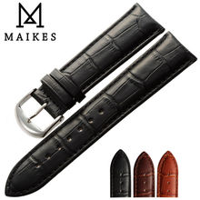 MAIKES All New Design Genuine Leather Watch Strap 12mm-24mm Soft Durable Good Quality Black Men Watch Band For Brand