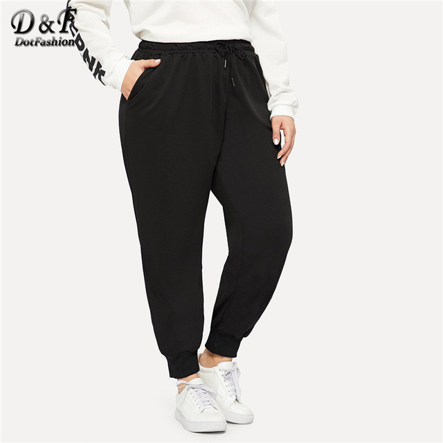 Dotfashion Plus Size Black Drawstring Waist Solid Pants Women Casual Streetwear Sweatpants 2019 Autumn Fashion Long Trousers