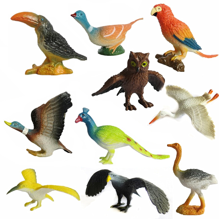 (14 pcs/set) Plastic Mini Birds Figurine Hawk Owl Parrot Ostrich Peacock Toco Toucan Bird Model Animals Toy Figure Children Gift 3d model relief for cnc in stl file format animals and birds 2