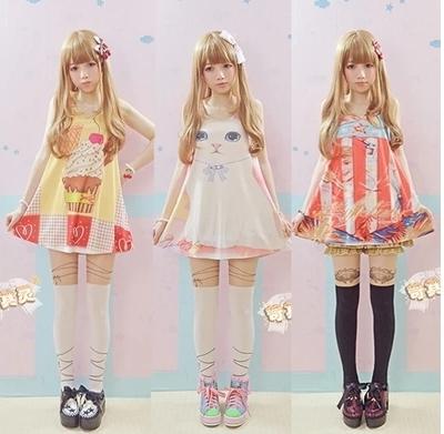 Princesa dulce lolita Oso pastel de helado gato patrón chaleco largo
