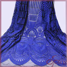 2017 new royal color African lace fabric beaded Renda  French tulle for party dress fashion women 5y
