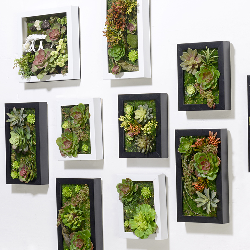 New 3D Creative Artificial Flowers Metope Succulent Plants Frame ...