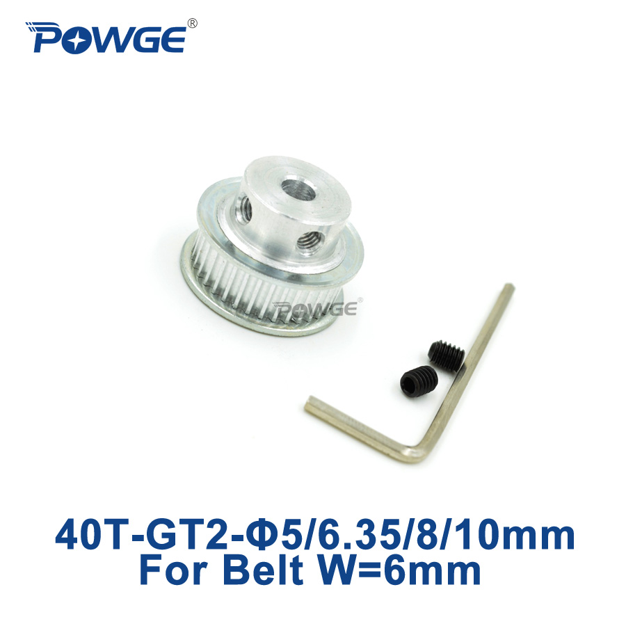 POWGE 1pcs 40 teeth GT2 Timing Pulley Bore 5mm 6.35mm 8mm 10mm for width 6mm GT2 Timing Belt Small backlash 2GT Belt 40T 40Teeth купить в Москве 2019