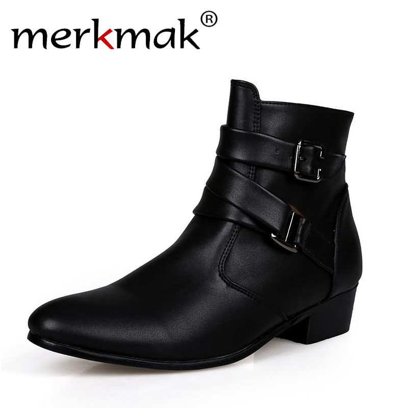 New 2018 british style casual men autumn ankle boots heels fashion pointed toe Martin Boots Men Leather Boots Shoes men LS129