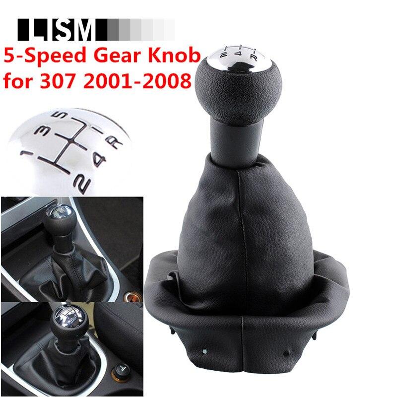 5 Geschwindigkeit Verchromte Pu-leder MT Schaltknauf für Peugeot 307 2001-2008 schalthebel Schalthebel Hebel + Gator Boot & Frame basis