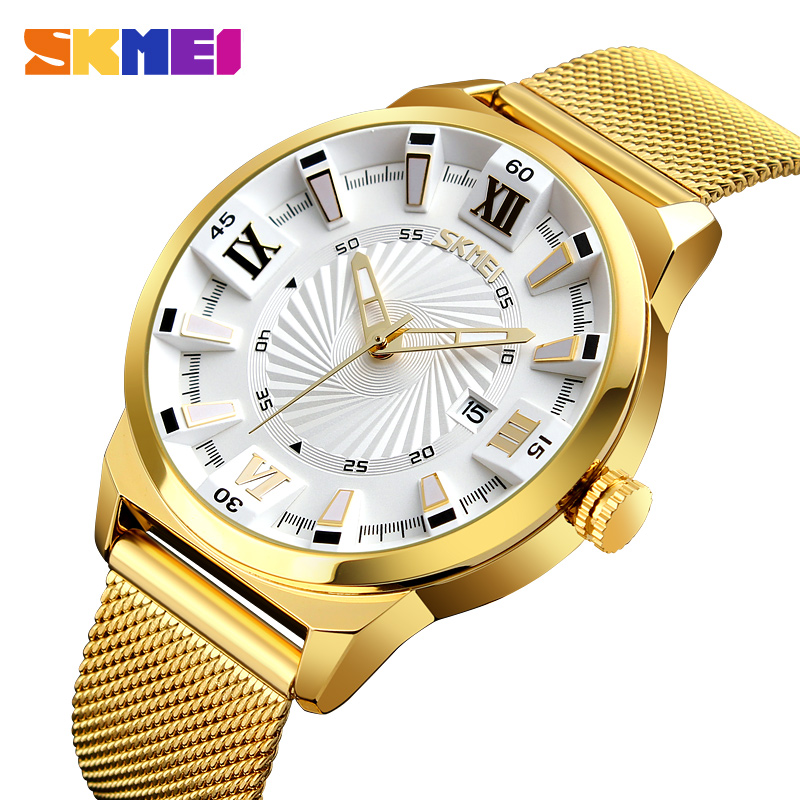 SKMEI Mens Watches Top Brand Luxury Waterproof Gold Quartz Wrist Watch Casual Stainless Steel Male Watches Relogio Masculino