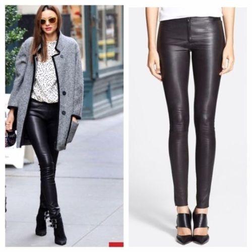 Arlenesain personalizado 2019 novo design Zip Frente Couro genuíno Legging Calças mulheres magras