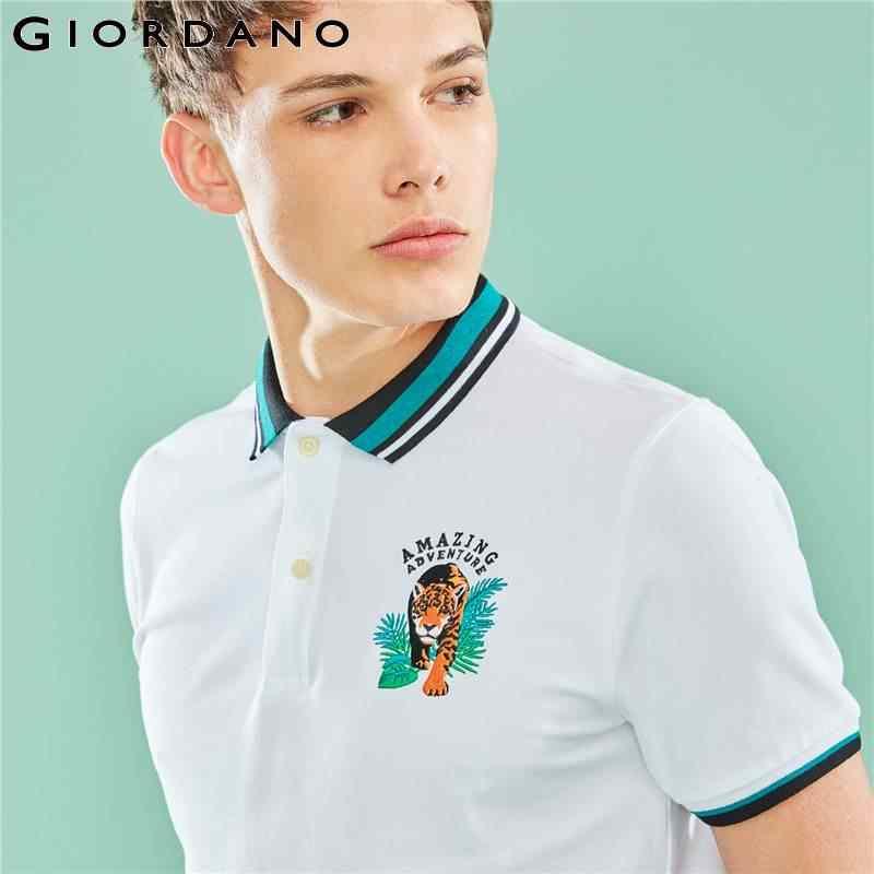 Giordano Men Polo Shirt The Amazon Series Embroidery Polo For Men Fashion Pattern Polos Para Hombre Brand Men's Clothes