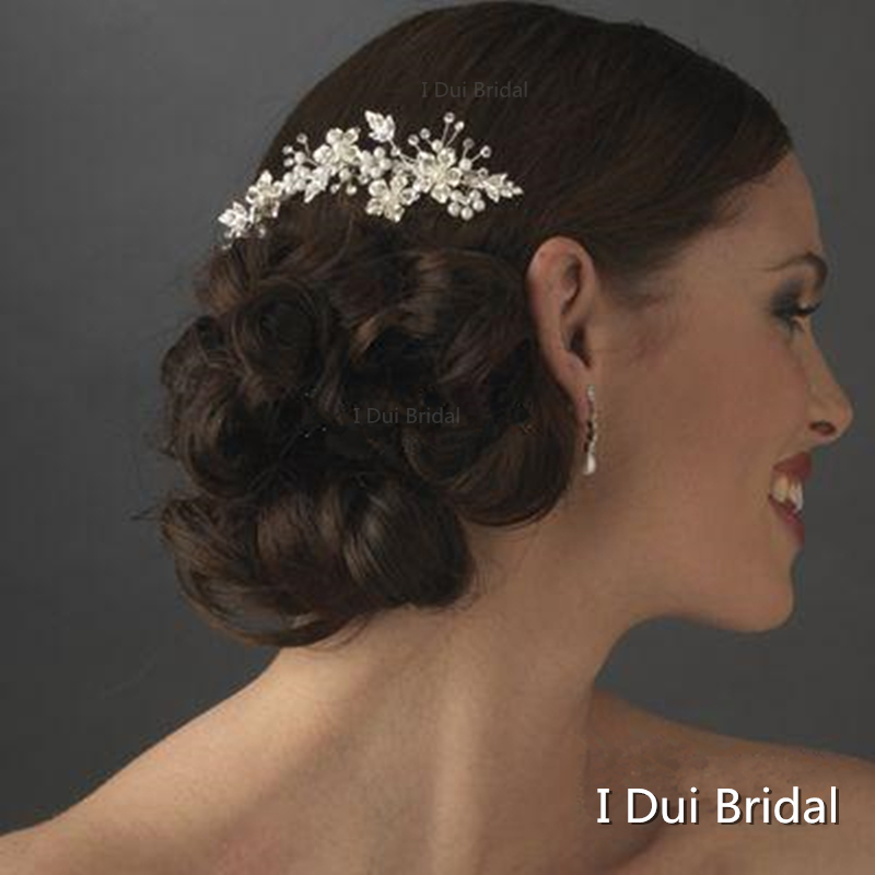 d1b4bb7a355ad Crystal Pearl Bridal Hat Comb Handmade Bride Hair Accessory Silver Floral  Gold Silver Two Color-in Bridal Hats from Weddings   Events
